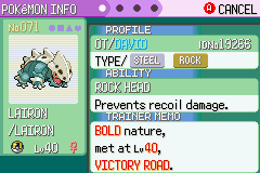 Pokemon Emerald - Character Profile Lairon - Shiny!! - User Screenshot